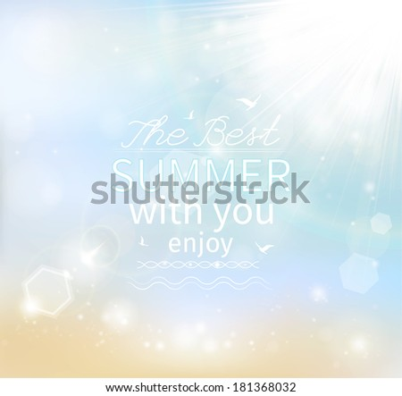 Summer, Seaside view poster. Vector background