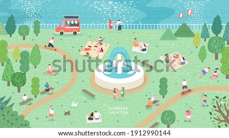 Summer season park zone with people. People have picnic in park. People sits on green grass, eats on picnic, spend summer weekend outdoors.