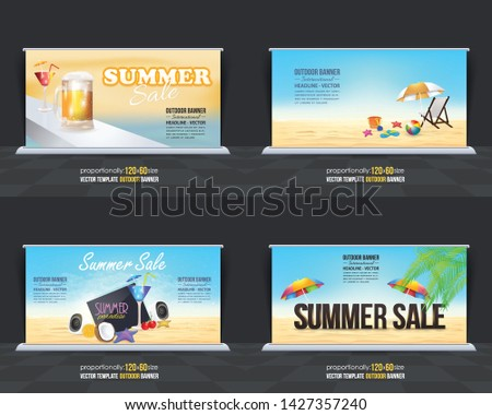 Summer Season Vector Background. Holiday Concept Advertising Design Set.  Print Ready Ad or Website Horizontal Template Collection #1427357240