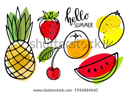 Summer seasonal fruit set. Watermelon, pineapple, strawberry, lemon, orange fruit, cherry sketch isolated. Bright fruits. Organic vector food. Eco healthy ingredient For poster, banner, coupon