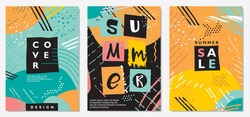 Summer seasonal sales banner or poster design idea. Abstract creative background covers and invitation or birthday card templates. Funky style colorful vector shapes and lines illustration.