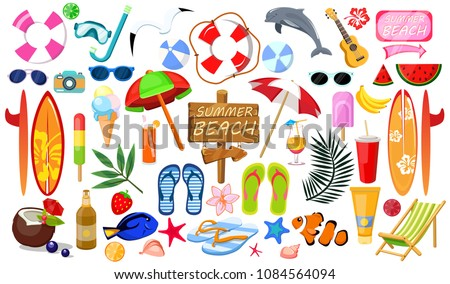 Summer set, accessories. Beach, sunglasses, umbrella, fruit, sunblock, surfboard, ice cream, cold drinks, exotic fish, float, slippers. Modern vector flat image design isolated on white background.