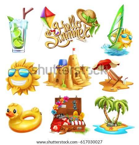 Summer set. 3d vector icon
