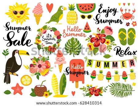 summer set  hand drawn elements