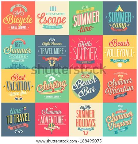 summer set   labels and emblems