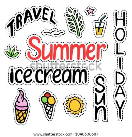 Summer set of isolated cute colorful Patches in doodle style and text lettering Summer, Sun, Holiday, Travel, Ice cream for design. Hand drawn line art illustration. Vector.