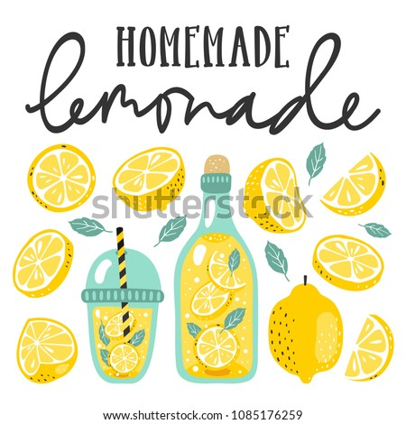 Summer set with lemonade and it's ingredients. Lemon, lemon slice, mint and hand written text.