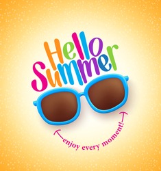 Summer Shades with Hello Summer Happy Colorful Concept in Cool Yellow Background for Summer Season. Vector Illustration