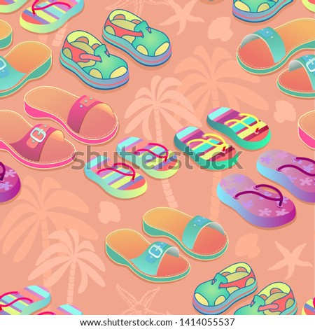 summer shoes seamless pattern