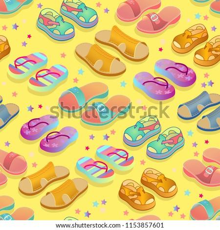 summer shoes vector seamless