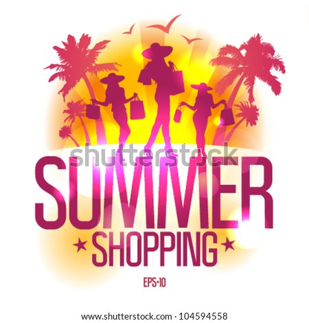 Summer shopping design template with fashion girls silhouette against tropical view. Eps10 Vector.