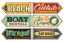Summer signs collection. Beach, cocktails, ice cream, boat rentals, beach bar, surf boards. Seasonal posters and sign boards collection. Retro vector ads. Vintage illustrations.