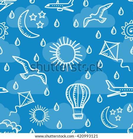 Summer sky simless background. Vector illustration.