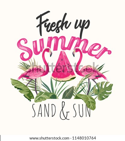 summer slogan with flamingos
