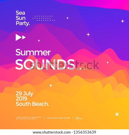 Summer sounds electronic music fest poster design. Fluid color banner. Dynamic gradients waves background.