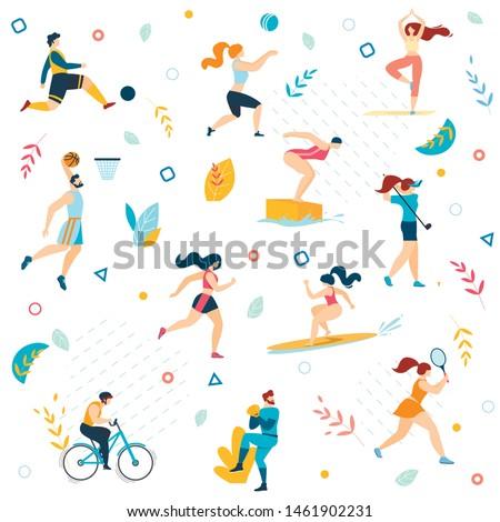 Summer Sport Activities Seamless Pattern. Men Women Sportsmen Workout. Swimming, Basketball, Biking, Athletics, Gymnastics Exercises, Surfing, Golf, Weightlifting. Cartoon Flat Vector Illustration