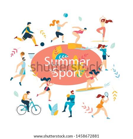 Summer Sport Activities Set. Sportsmen, Sportswomen Characters Workout. Swimming, Basketball, Biking, Athletics, Gymnastics Exercises, Surfing, Golf, Baseball, Tennis. Cartoon Flat Vector Illustration
