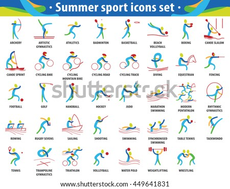 Summer sport icons set. vector pictograms for web, print and other projects.