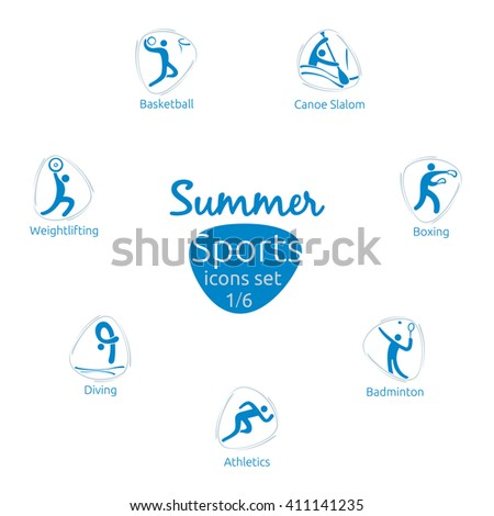 Summer sports icons set, 1 of 6, vector illustration, template