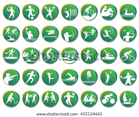 summer sports icons set  vector