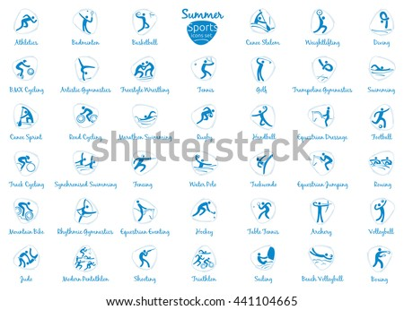 Summer sports icons set, vector pictograms for web, print and other projects. All 41 of olympic species of events #441104665
