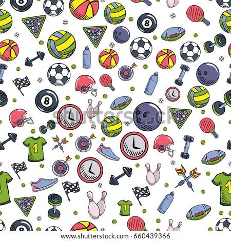 summer sports objects symbols