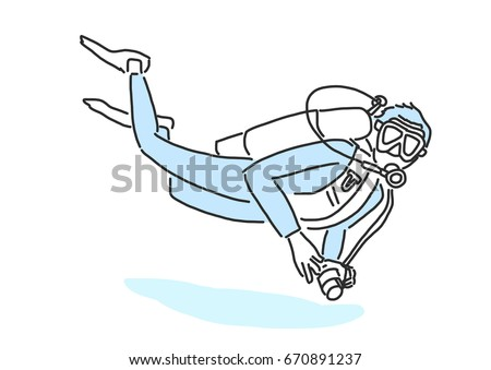 summer sports. scuba diving in variety poses. hand drawn. line drawing. vector illustration.
