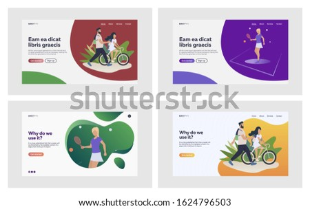 Summer sports set. Active people playing tennis, riding bike. Flat vector illustrations. Lifestyle, outdoor activities, recreation concept for banner, website design or landing web page