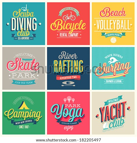 summer sports set   labels and