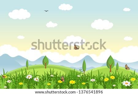 Summer Spring Green Valley Fresh Sky Outdoor Landscape Illustration