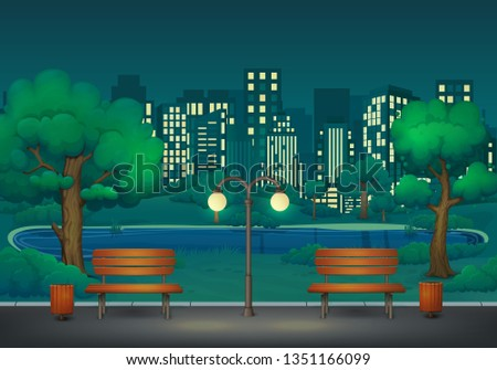 summer  spring night park scene