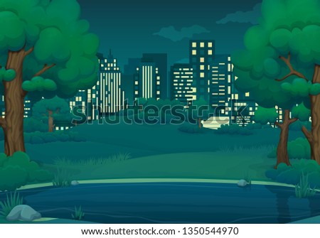 Summer, spring night vector illustration. Lake or river with lush green trees and bushes. Green hills, meadows, cityscape with skyscrapers and dark blue sky with clouds in the background.
