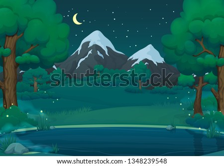 Summer, spring night vector illustration. Misty lake or river with fireflies, lush green trees and bushes. Green hills, meadows, mountains and dark blue sky with stars and crescent moon.