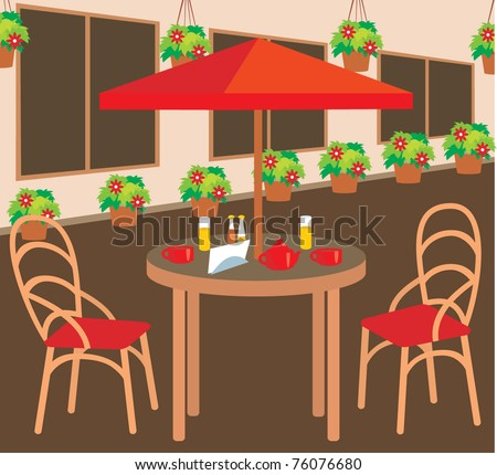 Summer street cafe. Vector illustration, no gradient