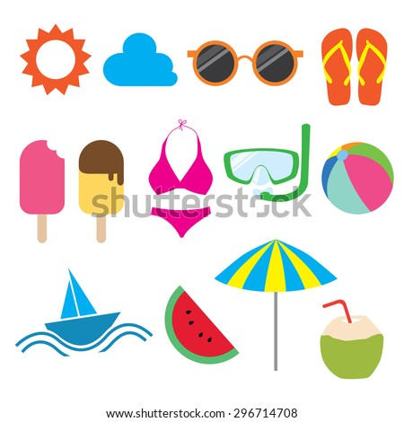 Summer Stuff Stock Vector Illustration 296714708 : Shutterstock