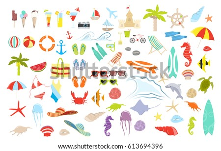 Summer stuff set. Isolated items on white background.