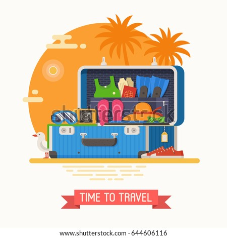 Summer suitcase full of vacation clothes and things for summertime holidays. Open suit case on sea beach with stuff for trip. Packing luggage for travel concept vector illustration in flat design.
