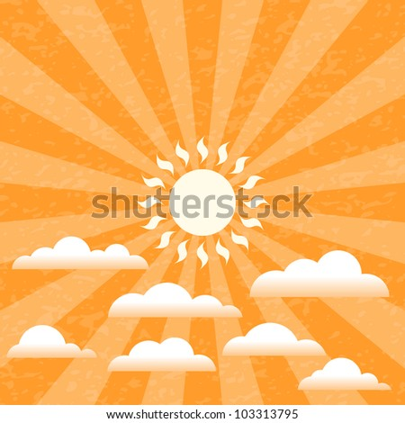 Summer Sun and Clouds on a Grungy Sky - EPS10 Vector