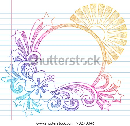 Summer Sun and Hibiscus Tropical Beach Border Frame Sketchy Notebook Doodles Vector Illustration on Lined Sketchbook Paper Background