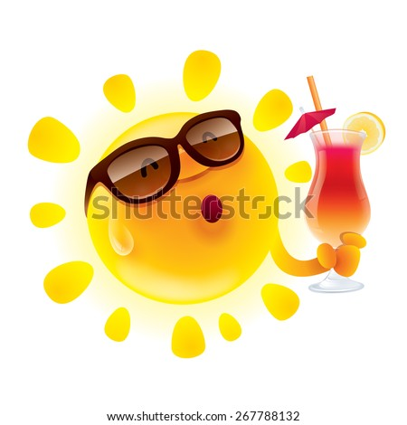 Summer sun chilling out with cocktail