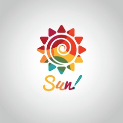 Summer sun colorful symbol on white background. Label design template.