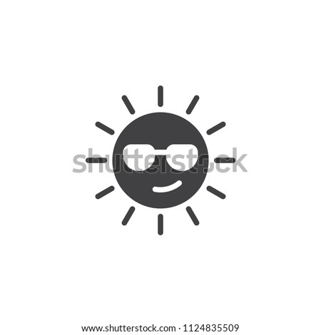 Summer Sun Face with sunglasses vector icon. filled flat sign for mobile concept and web design. sun with glasses emoji solid icon. Symbol, logo illustration. Pixel perfect vector graphics