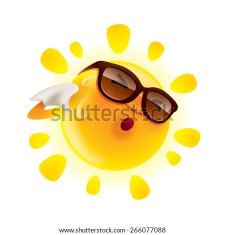 Summer sun feeling hot and wiping sweat
