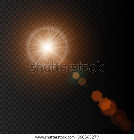 summer sun lens flare with