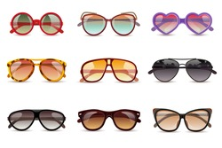Summer sun protection sunglasses realistic icons set isolated vector illustration