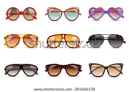 Shutterstock Summer sun protection sunglasses realistic icons set isolated vector illustration