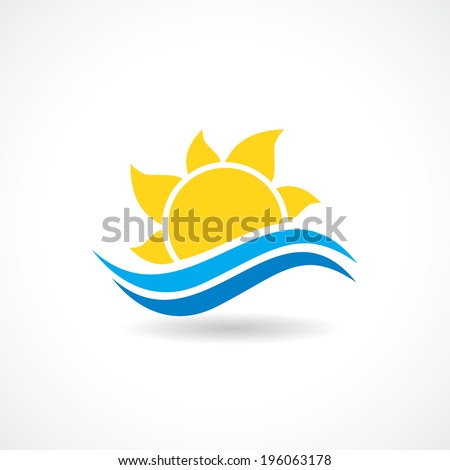 summer sun wave icon in vector
