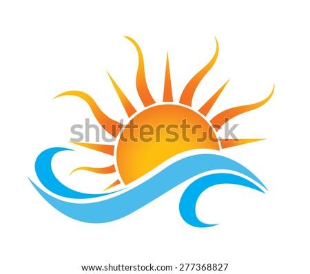 summer sun wave icon in vector