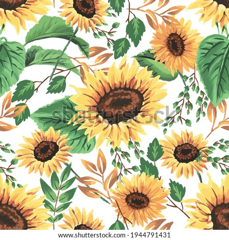 Summer sunflowers with white background pattern. Foliage, leaves, sunflowers, golden ditsy. Perfect for summer, spring, scrapbook, fabric, textile. Seamless repeat swatch.