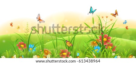 Summer sunny meadow banner with green grass, flowers and butterflies